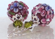 Sterling Silver Artisan Floral Lampwork Glass Bead Earrings- Artisan Lampwork Jewelry Gift for Her