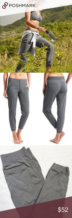 """Athleta Trekkie Jogger (Size 10) Beautiful Athleta Joggers in perfect condition. Lightweight, textured fabric perfect for off-road explorations or simply running errands. Sweat wicking. Breathable. Measures 15.5"""" at the waist unstretched. 9"""" rise. 28"""" inseam. 36"""" length. Like new condition. Reasonable offers welcome! Athleta Pants Track Pants & Joggers"""