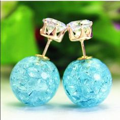Sky blue crackle rhinestone double back earrings Super cute earrings $9.00 a pair! Ask me about bundle deals!  NO TRADES and PRICE IS FIRM unless bundling!! Happy Poshing ❤️ Jewelry Earrings