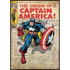 Captain America Comic Book Cover Wall Accent Sticker