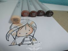 Copic coloring brown hair - step by step