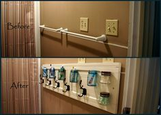 5 separate spaces for toothbrushes and towel hooks.great for a vacation home or kids bathroom! Creative Ideas, Diy Ideas, Craft Ideas, Bath Ideas, Bathroom Ideas, Towel Hooks, 5 Kids, Diy Decoration, Fresh Start