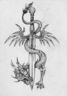 Amazing Sword With Dragon Tattoo Design Amazing Sword With Dragon Tattoo Design. - Amazing Sword With Dragon Tattoo Design Amazing Sword With Dragon Tattoo Design This image has - Tattoo Design Drawings, Art Drawings Sketches, Tattoo Sketches, Cute Tattoos, Body Art Tattoos, Finger Tattoos, Image Tatoo, Dragon Sword, Dragon Tattoo With Sword