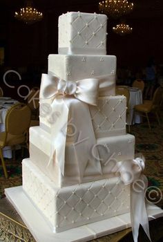 Wedding cake, love the square look and have the ribbons a color