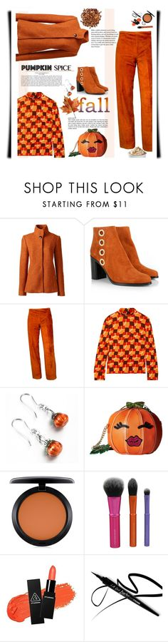"""""""Monochrome: Pumpkin Spice"""" by emcf3548 ❤ liked on Polyvore featuring Lands' End, Chloé, Milly, Prada, Betsey Johnson and MAC Cosmetics"""
