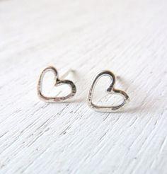 Hammered Dainty Heart Sterling Silver Earrings by LibiClozet