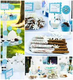 Frozen themed birthday party with SUCH CUTE IDEAS via Kara's Party Ideas | Cake, decor, cupcakes, games and more! KarasPartyIdeas.com #froze...