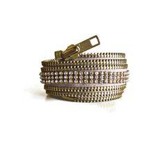 Zipper cuff with rhinestones