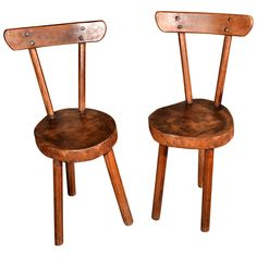 Pair Handmade Chairs From The French Alps On Three Legs.