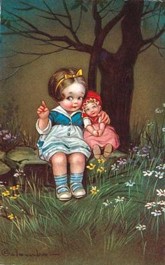 Doll and Girl in Woods Art Print | Beloved Doll Friends Anytime Art Prints