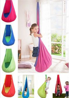 Scientific studies reveal that for kids, swinging develops a sense of balance and body perception. It also brings a feeling of well-being and relaxation and besides, there is nothing cooler for any kid than to have this cocoon hammock in his or her bedroom. This innovative cocoon pod style is perfect for any kid 3+ t
