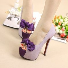 $26.00  Purple ol sexy silk bow open toe super-elevation water thin heels high-heeled single shoes female wedding shoes