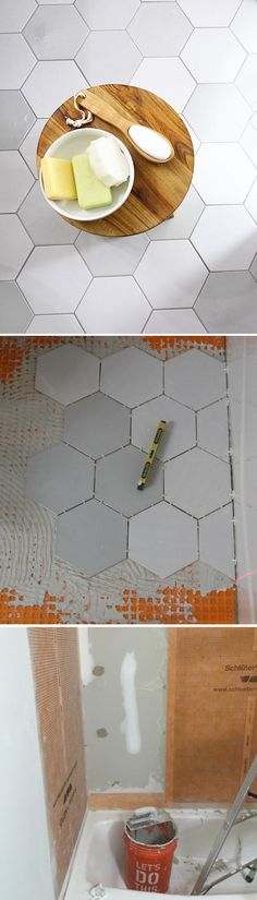 New tile and colored grout can give a small, out-of-date bathroom a fresh new look. Leslie Davis of Paper Daisy Design re-tiled this bathroom herself. She shows us the step-by-step of how the completed the job, along with gorgeous photos of the completed bathroom remodel. || @paperdaisy
