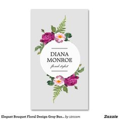 Vintage modern floral motif on chalkboard designer business card designer business card template for florists flower shops floral designers event stylists cheaphphosting Gallery