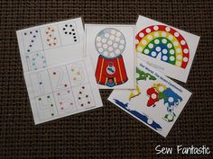 Printable color-matching and counting sheets to use with Do a dots or pom poms