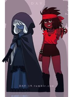 Ruby looks awesome. Sapphire looks dark and mysterious. Steven Universe Pictures, Steven Universe Comic, Character Inspiration, Character Art, Character Design, Desenhos Cartoon Network, Black Sapphire, Black Ruby, Ruby Sapphire