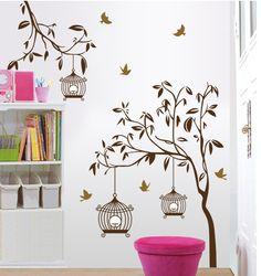 Goedkope grote fotolijst tree muursticker interieur vinyl decal plant muur decor art - Decoratie volwassen slaapkamer ...