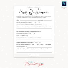 Get access to our entire template library – Strawberry Kit Photography Mini Sessions, Star Photography, Photography Templates, School Photography, Autumn Photography, Photoshop Photography, Note Card Template, Questionnaire Template, Color Profile