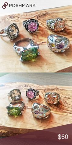 Beautiful Bundle of 925 Sterling Silver CZ Rings In excellent and like new condition bundle of Genuine 925 Sterling Silver & colorful CZ cocktail rings. Size 7. A great set to match many outfits. Jewelry Necklaces