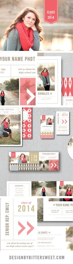 Senior Photography Marketing templates. Professional photographer branding materials. Pricing guides, graduation announcements, business cards, Facebook timelines, senior rep cards. *images courtesy of @kelly_jensen
