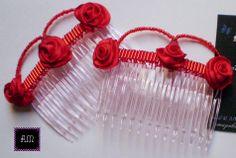 """Peinetas DOBLES: Modelo Dobles Clásicas """"Gotas de Lluvia"""" en rojo. A pedido del color que quieras! AmapolasMoras - Complementos Flamencos - Argentina"""