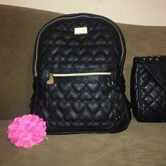 Betty Johnson backpack Black leather like purse in great condition just minor scuff shown in pics non noticeable missing attached bow offers welcome  open to trades Bags Backpacks