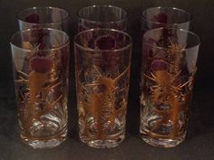 Barware Collection - GREGORY DUNCAN - PURPLE THISTLE - HIGHBALL GLASSES