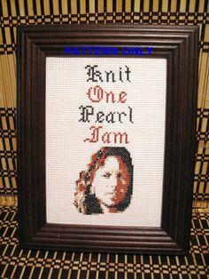 Pattern Funny Cross Stitch Knit One Pearl Jam Eddie by CrassCross, $5.00