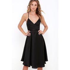 Stolen My Heart Black Wrap Midi Dress ($32) ❤ liked on Polyvore featuring dresses, black, wrap dress, satin wrap dress, calf length dresses, mid calf dresses and sash belt