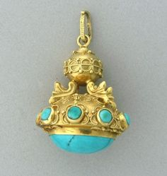 140: Etruscan 18k Gold Turquoise 3D Charm Pendant : Lot 140