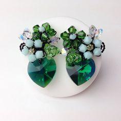 Emerald Green crystal heart earrings handmade using by PastelGems