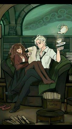 Harry Potter - Draco Malfoy x Hermione Granger - Dramione I don't really ship it but. Harry Potter Anime, Harry Potter Hermione, Harry Potter Fan Art, Fan Art Hermione, Harry Potter Universe, Images Harry Potter, Harry Potter Couples, Fans D'harry Potter, Harry Potter Ships