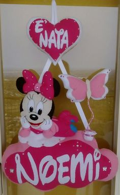 Fiocco personalizzato di Minnie Minnie Mouse Pinata, Mickey Mouse, 2nd Birthday Parties, Baby Birthday, Felt Name, Princesas Disney, Baby Sewing, Banner, Origami