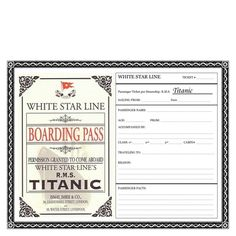 Fill in your own boarding pass.  2012 marks the 100th anniversary of the Titanic disaster...