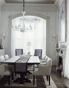 Showhouse Rooms Bathed in White, the molding is beautiful, love the chairs