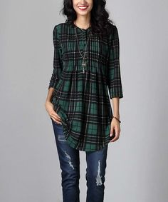 Another great find on #zulily! Green Plaid Notch Neck Pin Tuck Tunic #zulilyfinds