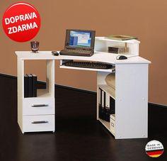 Rohový Pc počítačový stůl - bílý, buk, sonoma, javor, jádrový buk Germany - BidMix.cz