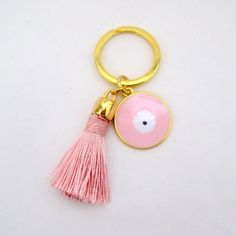 tassel keychain- tassel key chain- evil eye keychain-keychain tassel- tassel-boho keychain-cute keychain-tassel-charm keychain-gift for her- by TrendyHandicraft on Etsy