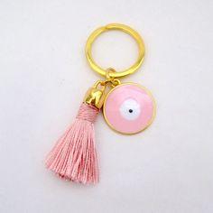 tassel keychain- tassel key chain- evil eye keychain-keychain tassel- tassel-boho keychain-cute keychain-tassel-charm keychain-gift for her- by TrendyHandicraft on Etsy