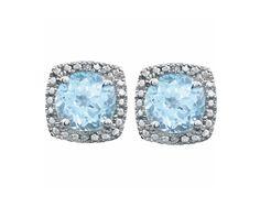 Sky Blue Topaz & Diamond Sterling Silver Square Halo Stud Earrings