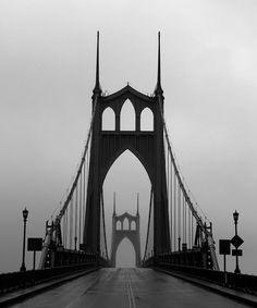 """St. Johns Bridge In Fog & Drizzle, Portland, Oregon"", 2012"