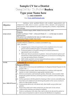 Dentist Resume Dentist Resume Sample  Resume Examples  Pinterest
