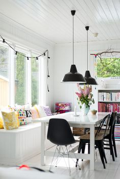 mix-and-match seating, industrial lighting