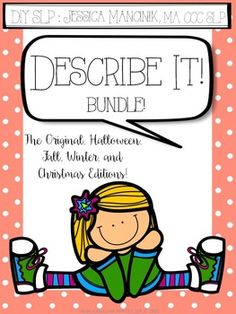 """Describe It"" is an activity designed to increase the expressive language skills as well as expand the vocabulary of children grades 1-5. It comes with a ""cheat sheet"" for students to use to develop strategies for describing objects. Three worksheets and a directions page are also included.The bundle includes the following variations:Describe It! - The OriginalDescribe It! - 2nd Edition (NEW!)Describe It! - Fall EditionDescribe It! - Halloween EditionDescribe It! - Winter EditionDescribe…"