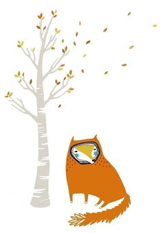 And the Wind Blows (blackoutwell on Etsy).  A fox sits by a barren tree.  #autumn
