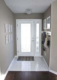 Gray on walls. So pretty.... with white trim and dark wood floors.