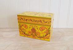 Mid Century Recipe Box Metal Recipe Box File Box Mod Recipe Box Yellow Recipe Box Mod Kitchen Decor 1960's Recipe Box Avon Recipe Box by HipCatRetroVintage on Etsy https://www.etsy.com/listing/531316187/mid-century-recipe-box-metal-recipe-box