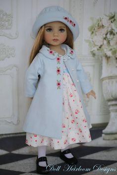 "Dress and Coat Ensemble Effner 13"" Little Darling by Doll Heirloom Designs #DollHeirloomDesigns"