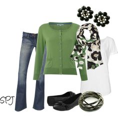 Indie Sunset Jeans and Alexis Bittar Leopard Dots Scarf: Very cute weekend outfit