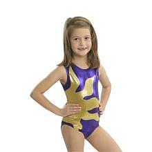 Obersee Girls Purple/Yellow Shimmer Sunburst Gymnastics Leotard